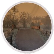 Early Morning Driveway Round Beach Towel