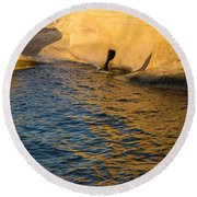Early Morning Gold At Valletta Fortifications Round Beach Towel