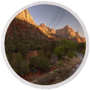 Early Morning Hike At Zion National Park  Round Beach Towel