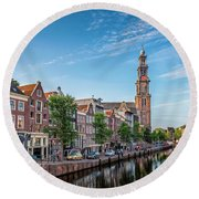 Early Morning In Amsterdam With Canal Round Beach Towel