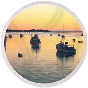 Early Morning In Chatham Harbor Round Beach Towel