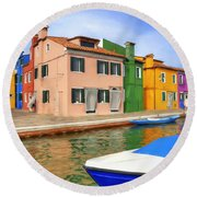 Early Morning In Isola Di Burano Round Beach Towel