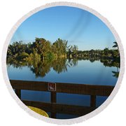 Early Morning In Lakes Park Fort Myers  Round Beach Towel