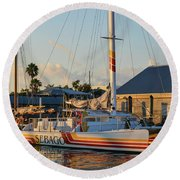 Early Morning In The Harbor Round Beach Towel