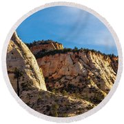 Early Morning In Zion Canyon Round Beach Towel