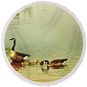 Early Morning Lessons Round Beach Towel