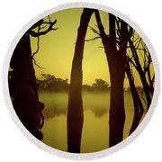 Early Morning Mist At The River Round Beach Towel