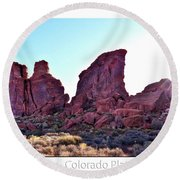Early Morning Mystery Valley Colorado Plateau Arizona 05 Text Round Beach Towel