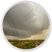 Early Morning Nebraska Storm Chasing 017 Round Beach Towel