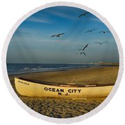 Early Morning Ocean City Nj Round Beach Towel