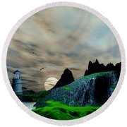 Early Morning Ocean Lighthouse Scene Round Beach Towel