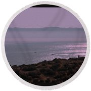 Early Morning On Southern Greek Coast Round Beach Towel