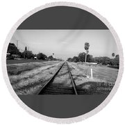 Early Morning On The Rail  Round Beach Towel