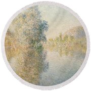 Early Morning On The Seine At Giverny Round Beach Towel