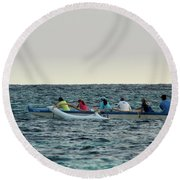 Early Morning Outing Round Beach Towel