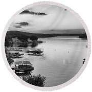 Early Morning Ozarks Round Beach Towel