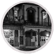 Early Morning Paseo Del Prado Havana Cuba Bw Round Beach Towel