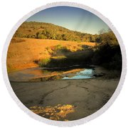 Early Morning Pond Round Beach Towel