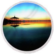 Early Morning Rays Over The Boat House Round Beach Towel