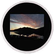Early Morning Red Sky Round Beach Towel