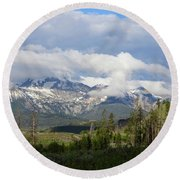 Early Morning Sawtooths Round Beach Towel