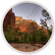 Early Morning Solitude At Zion  Round Beach Towel