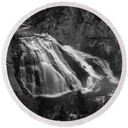Early Morning Steam Falls Round Beach Towel