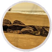 Early Morning Tybee Beach Round Beach Towel