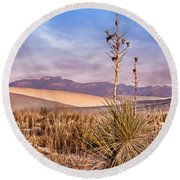 Early Morning Yucca - White Sands - New Mexico Round Beach Towel