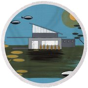 Early Painting Futuristic House Round Beach Towel