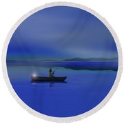 Fisherman - Early Riser Round Beach Towel