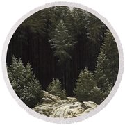 Early Snow Round Beach Towel by Caspar David Friedrich