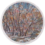 Early Snow. Round Beach Towel