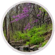 Early Spring On Mill Creek 2 Round Beach Towel