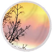 Early Spring Sunset Round Beach Towel