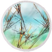 Early Spring Twigs Round Beach Towel