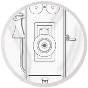 Early Telephone Line Drawing Round Beach Towel