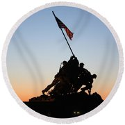 Early Washington Mornings - Iwo Jima Memorial Round Beach Towel