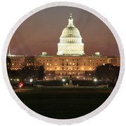 Early Washington Mornings - Us Capitol In The Spotlight Round Beach Towel