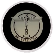 Early Winged Boeing Logo Round Beach Towel