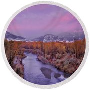 Early Winter Sunset Round Beach Towel