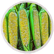 Ears Of Corn Round Beach Towel