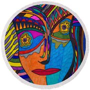 Earth And Aqua Mask - Abstract Face Round Beach Towel