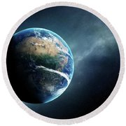 Earth And Moon Space View Round Beach Towel