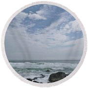 Earth And Sea And Sky In April Round Beach Towel