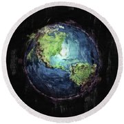 Earth And Space Round Beach Towel