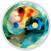 Earth Balance - Yin And Yang Art Round Beach Towel