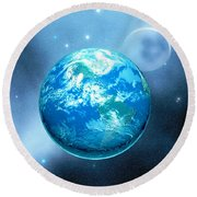 Earth Round Beach Towel by Corey Ford