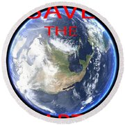 Save The Earth Round Beach Towel