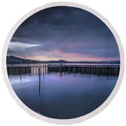 Earth Day Sunset Unsigned Round Beach Towel